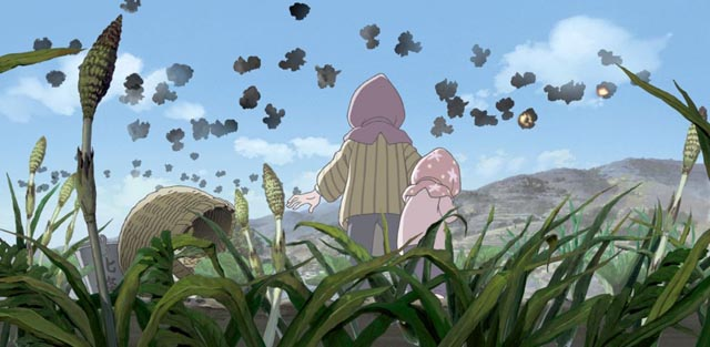 Suzu watches an air raid in the distance over Hiroshima in Sunao Katabuchi's In This Corner of the World (2016)