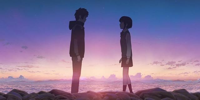 Taki and Mitsuha meet across time in Makoto Shinkai's Your Name (2016)