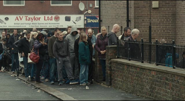 Edging towards starvation, Katie and Daniel seek help from a food bank in I, Daniel Blake (2016)