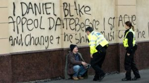 Unemployed, Daniel Blake (Dave Johns) resorts to civil disobedience to assert his rights in Ken Loach's I, Daniel Blake (2016)