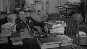 Major Bennett Marco (Frank Sinatra) is haunted by events in the Korean War he can't clearly remember in John Frankenheimer's The Manchurian Candidate (1962)