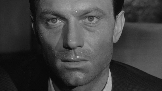 Staff Sergeant Raymond Shaw (Laurence Harvey), tormented by weakness in John Frankenheimer's The Manchurian Candidate (1962)