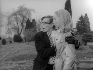 Johnny's annoying teasing in the graveyard backfires in George A. Romero's Night of the Living Dead (1968)