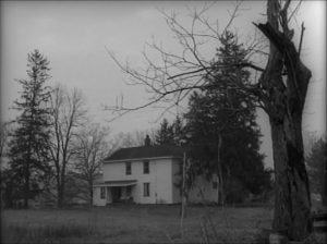 The remote farmhouse offers little hope of refuge in George A. Romero's Night of the Living Dead (1968)