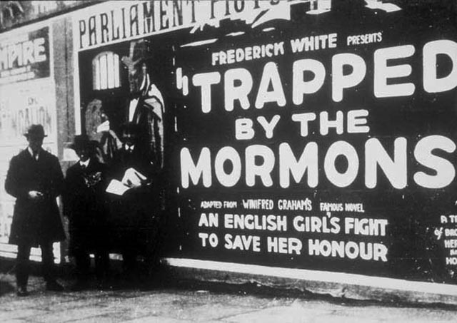 "Promotion for Harry B. Parkinson's Trapped By the Mormons (1922) warns of the Mormon threat to an ""English girl's honour"""