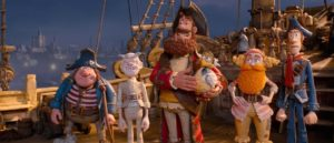 Pirate Captain and his crew in Aardman's The Pirates!: Band of Misfits (2012)