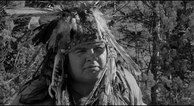 Nobody (Gary Farmer) appears as a spirit guide to help Blake make his journey into death in Jim Jarmusch's Dead Man (1995)