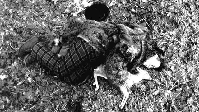 William Blake (Johnny Depp) communes with a dead faun in Jim Jarmusch's Dead Man (1995)