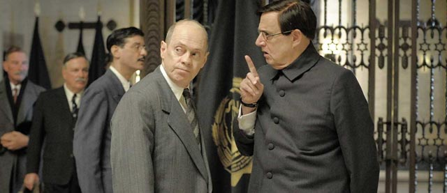 Khrushchev (Steve Buscemi) and Malenkov (Jeffrey Tambor) jockey for position after The Death of Stalin (2017)
