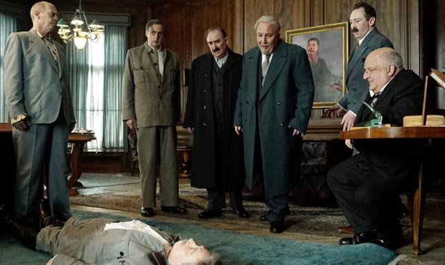 Members of the politburo consider what to do with their stricken leader in Armando Iannucci's The Death of Stalin (2017)