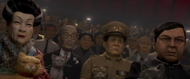 The cat-loving, dog-hating political establishment of Megasaki in Wes Anderson's Isle of Dogs (2018)
