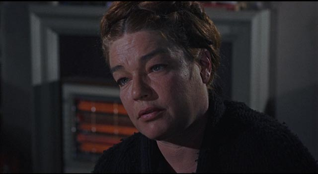 Simone Signoret as Elsa Fennan, a woman severely battered by life in Sidney Lumet's The Deadly Affair (1966)