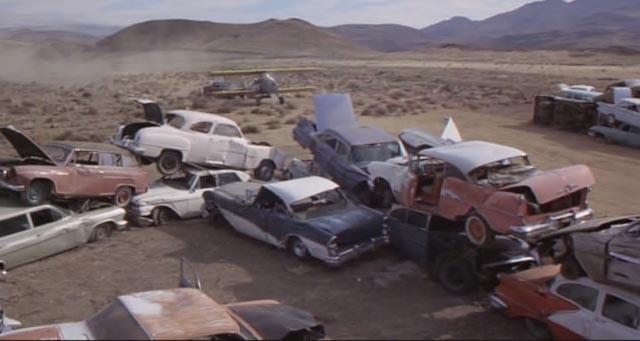 The final showdown, plane against car in a junkyard in Don Siegel's Charley Varrick (1973)