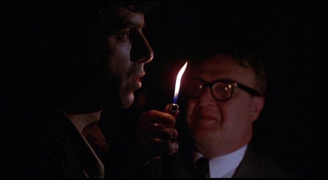 Patsy's father (Vincent Gardenia) is suspicious of her new boyfriend in Jules Feiffer & Alan Arkin's Little Murders (1971)