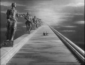 The Stairway to Heaven which Conductor 71 tricks Peter into taking in Michael Powell and Emeric Pressburger's A Matter of Life and Death (1946)