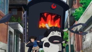 Satellite Girl and Milk Cow flee from the rampaging furnace in Chang Hyung-yun's Satellite Girl and Milk Cow (2014)