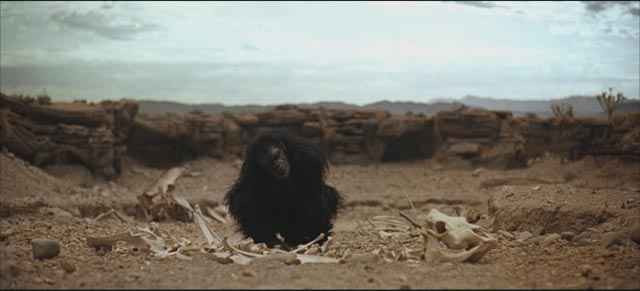 Our ancestors discover tools and weapons with the help of an alien force in Stanley Kubrick's 2001: A Space Odyssey (1968)