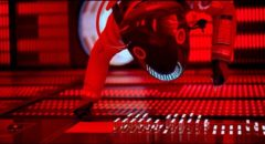 Dave Bowman (Keir Dullea) slowly shuts down HAL's higher brain functions in Stanley Kubrick's 2001: A Space Odyssey (1968)