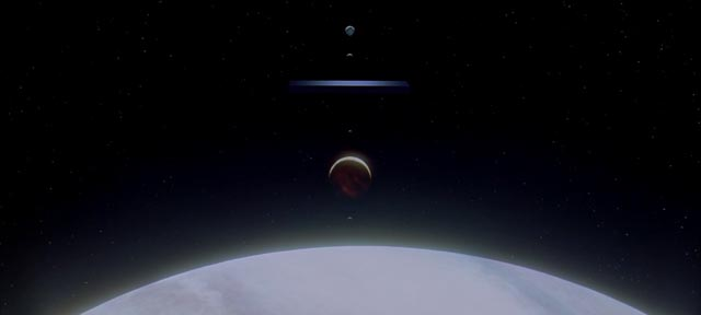 The monolith aligns with Jupiter's moons, preparing to open the Stargate in Stanley Kubrick's 2001: A Space Odyssey (1968)