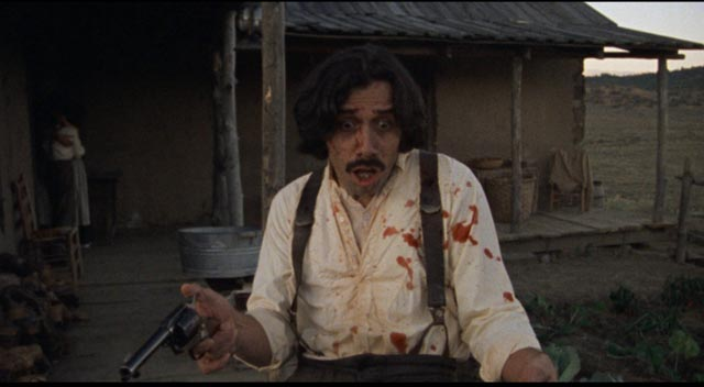 Gregorio Cortez (Edward James Olmos) looks in horror at the violence he's been unexpectedly caught up in in Robert M. Young's The Ballad of Gregorio Cortez (1982)