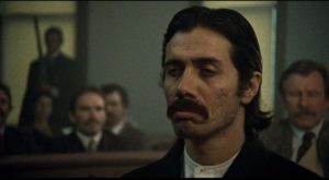 Gregorio Cortez (Edward James Olmos) stoically faces judgement in a white court in Robert M. Young's The Ballad of Gregorio Cortez (1982)