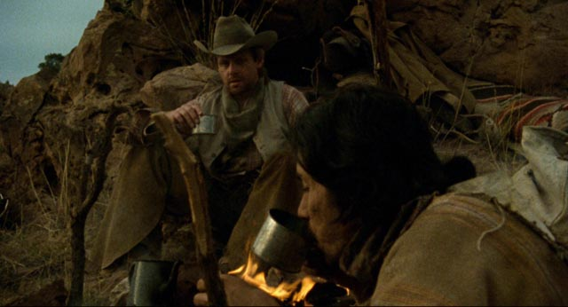 Gregorio Cortez (Edward James Olmos) finds a brief respite with a lonely rancher (William Sanderson) in Robert M. Young's The Ballad of Gregorio Cortez (1982)