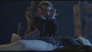 Wilbur Whateley (Dead Stockwell) summons the Old Ones over Sandra Dee's body in Daniel Haller's The Dunwich Horror (1969)
