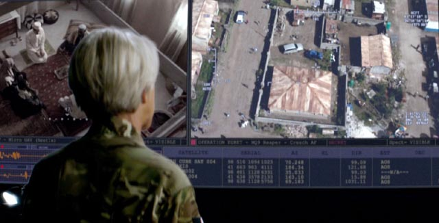 Helen Mirren as Col. Powell runs an assassination-by-drone operation in Gavin Hood's Eye in the Sky (2015)