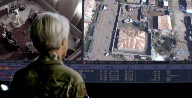 Helen Mirren as Col. Powell runs an assassination-by-drone operation in Gavin Hood's Eye in the Sky (2015)