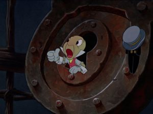 Jiminy Cricket, the puppet's conscience in Pinocchio (1940)