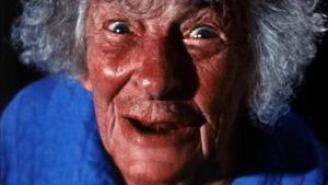Mrs. Callingham (Rhea MacAdams) tries to warn Nurse Beale in S.F. Brownrigg's Don't Look in the Basement (1972)