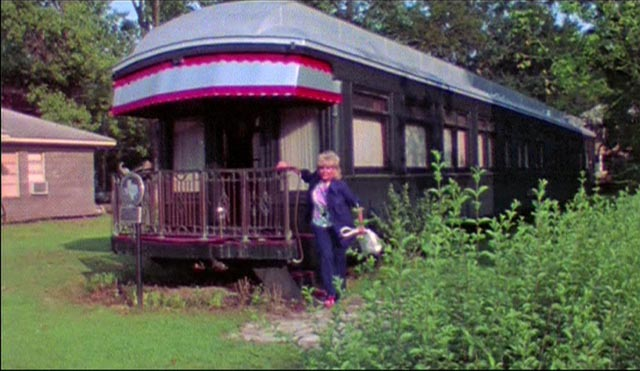 Judge Stemple (Gene Ross)'s eccentric home is an old rail car in S. F. Brownrigg's Don't Open the Door (1974)