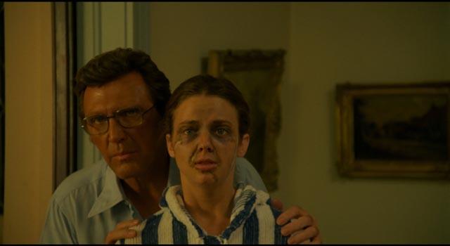 "Dr. Reynolds (Robert Lansing) reveals the new face he has made for ""Jane Doe"" (Judith Chapman) in John Grissmer's Scalpel (1977)"