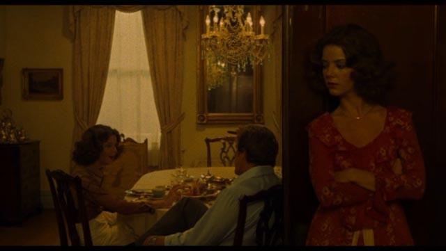"""Heather"" (Judith Chapman) eavesdrops on the newly returned Heather (Judith Chapman) and her father Dr. Reynolds (Robert Lansing) in John Grissmer's Scalpel (1976)"
