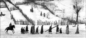 The Crucifixion reenacted in a wintry landscape in Andrei Tarkovsky's Andrei Rublev (1966)