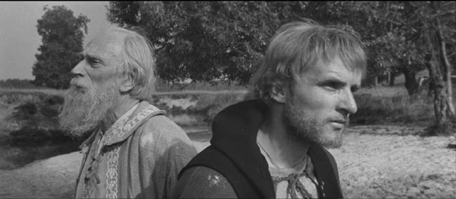 Andrei (Anatoliy Solonitsyn) and Theophanes the Greek (Nikolay Sergeev) ponder the artist's place in the world in Andrei Tarkovsky's Andrei Rublev (1966)