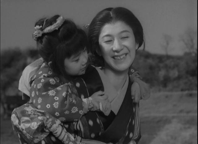 Chizuru Kitagawa, the shamisen player, and her daughter (Chie Ueki) in Tomu Uchida's Bloody Spear at Mount Fuji (1955)