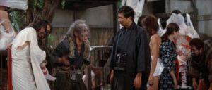Hitomi (Teruo Oshida) is given a tour of Jôgorô's alternate society in Teruo Ishii's Horrors of Malformed Men (1969)