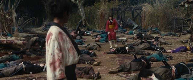 Aftermath of the battle in Takashi Miike's samurai fantasy Blade of the Immortal (2017)