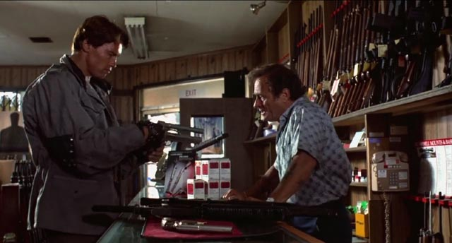 Gun shop owner Miller meets Arnold the killer robot in James Cameron's The Terminator (1984)