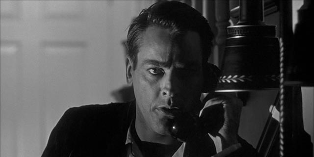 Miles (Kevin McCarthy) realizes there's no way to reach help in Don Siegel's Invasion of the Body Snatchers (1956)