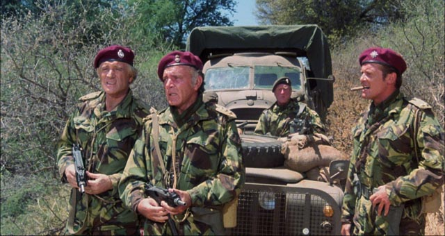 Old guys' action: Richard Harris, Richard Burton, Jack Watson and Roger Moore in Andrew V. McLaglen's The Wild Geese (1978)
