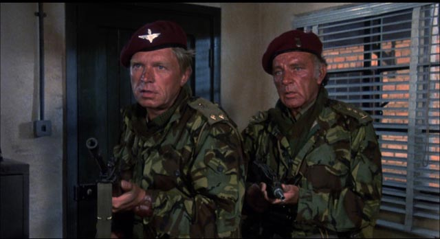 White heroes fighting Black corruption in Africa: Hardy Kruger and Richard Burton in Andrew V. McLaglen's The Wild Geese (1978)