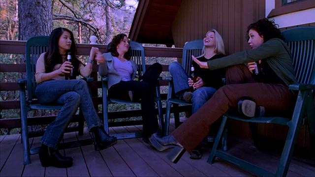 Bickering, drinking and poor cellphone reception signal trouble ahead for the woman next door in Ryan Schifrin's Abominable (2005)