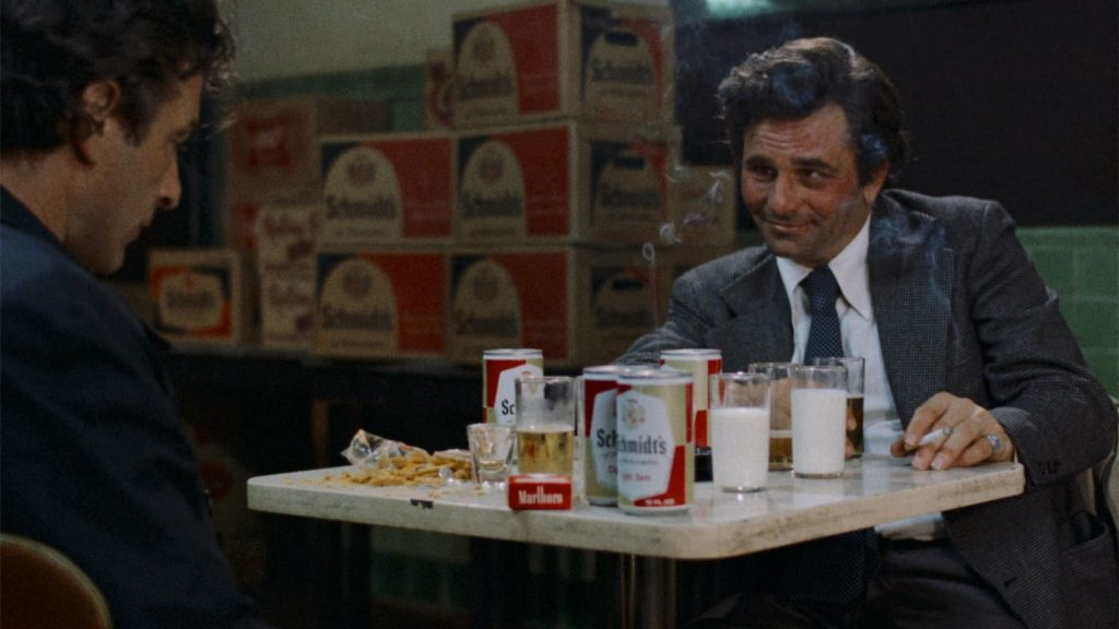 Mikey (Peter Falk) has a hard time keeping Nicky (John Cassavetes) in one place while he waits for the hitman to show in Elaine May's Mikey and Nicky (1976)