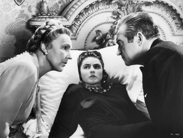 Sebastian (Claude Rains) and his mother (Leopoldine Konstantin) calmly discuss the need to kill Alicia (Ingrid Bergman) in Alfred Hitchcock's Notorious (1946)