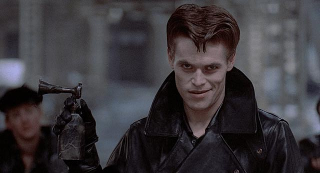 A young Willem Dafoe as the androgynous biker Raven Shaddock in Walter Hill's Streets of Fire (1984)