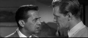 Peter Carter (Patrick Allen) refuses to be intimidated by the power of Clarence Olderberry Jr. (Bill Nagy) in Cyril Frankel's Never Take Sweets from a Stranger (1960)