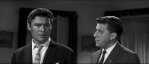 Alan (Ronald Lewis) confesses his fears about his own sanity to his friend Harry (Bernard Braden) in Val Guest's The Full Treatment (1960)