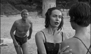 Companion Jean Edwards (Betta St. John) refuses to believe Candy (Mandy Miller)'s accusations against her stepfather (Peter van Eyck) in Guy Green's The Snorkel (1958)